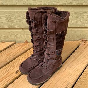 Sketchers Tall Lined Boots Brown 8